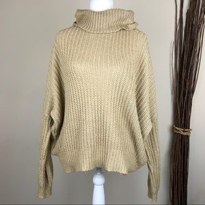LEITH | Tan Chunky Knit Cowl Sweater Oversized Med